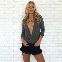 Cross With A Twist Jersey Top In Charcoal Grey