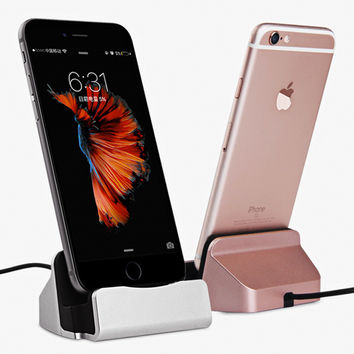 Original Sync Data Charging Dock Station Cellphone Desktop Docking Charger USB Cable For iPhone 5 5S 5C SE 6s 6 Plus Micro Typec