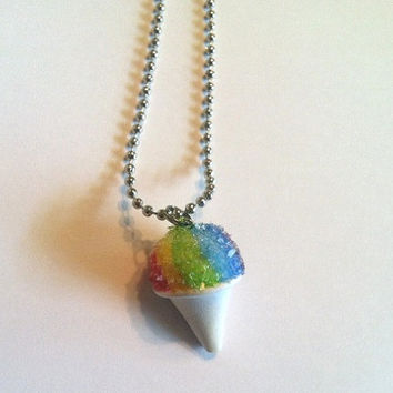 Rainbow Snow Cone Pendant, Polymer Clay Food Jewelry