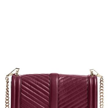 Rebecca Minkoff 'Chevron Quilted Love' Crossbody Bag - Burgundy