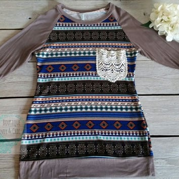 ETHNIC PRINT KNIT TOP