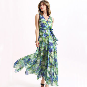 Sisjuly Maxi floral print Dress Summer chiffon dress bohemian floral maxi dress fashion elegant long dress