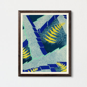 Abstract Leaves Art Printable, Living Room Wall Art, Gallery Wall, Contemporary Fine Art, Pochoir Art, Lithograph Séguy, Kids Room Decor