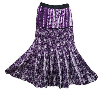 Mogul Womens Long Skirts Purple Printed Gypsy A-line Festive Flare Bohemian Maxi Skirts