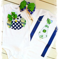 Boy Girl Twin Set-Owl and Tie with Suspenders Outfit-Brother Sister Matching Set-Brother Sister Birthday Outfit-John Deere