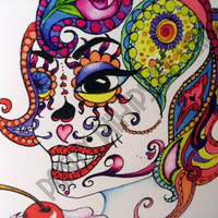 Mexican sugar skull with cupcakes notecard by PaisleyPinupsbyLeahE