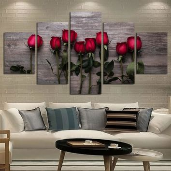 Home Decor Modular Picture 5 Panel Beautiful Rose Flower HD Print Canvas Painting Wall Art Print Poster For Living Room FA497