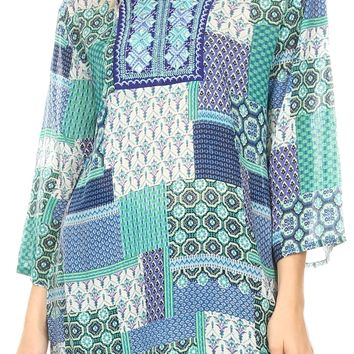 Sakkas Matia Women's Casual Summer Cotton Long Sleeve Print Loose Tunic Top Blouse
