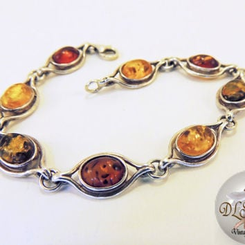Amber Vintage Jewelry Handcrafted Sterling Silver Bracelet