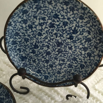 4 Vintage Asian dessert plates, blue and white asian plates, made in japan dessert plates, tea party dessert plates
