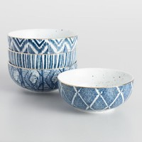 Blue and White Porcelain Bowls Set of 4