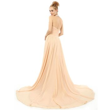 A Line Zipper Long Evening Dresses Halter Chiffon Beaded