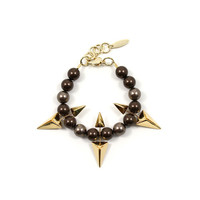 Vicious Love Pearl & Double Sided Pyramid Bracelet - Gold/Brown