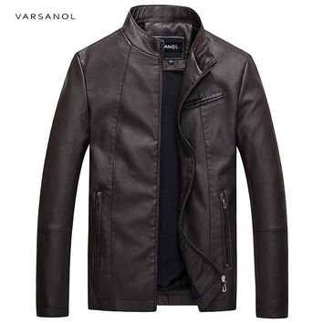Trendy Varsanol Causal Leather Jackets Male Long Sleeve Winter Thick Pocket Mens PU Bomber Outerwear Hot Sale Zipper Brand Clothing2017 AT_94_13