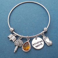 Kindred spirit, Orange, Glass, Prayer, Bouquet, Book, Silver, Bangle, Bracelet, Anne and Diana, Gift, Jewelry
