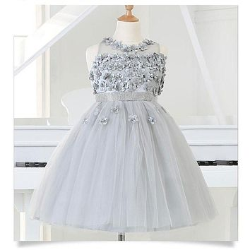 Silver tulle Flower Girl Party Dresses Bead Appliques Tutu Princess Wedding Dress for Christmas Kids Birthday clothes 2-12Y
