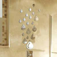 Three-dimensional Acrylic Mirror Wall Stickers Relief Expand Space Raindrops Wall Stickers - Silver HG-WS-1735 (Color: Silver) = 1706386628