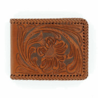 Nocona Bi-Fold Genuine Tooled Leather Western Men's Wallet w/ Passcase-Tan N5421008