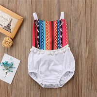 Newborn Infant Clothes For Girls  Summer Baby Girl Cotton Jumpsuit Backless Bodysuit Baby Girls