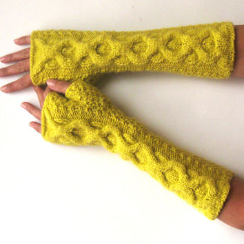 Soft Mitts Yellow Fingerless Gloves Winter Knit Cable Fingerless Mittens Women Gloves Inverted Cable Hand Warmers Winter Arm Warmers KG0068