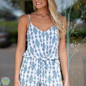 Sweet For The Summer Tie Top & Shorts Set : Ivory/Blue