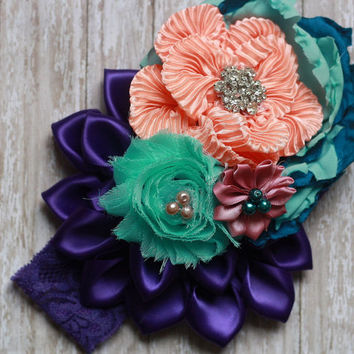 KANZASHI HEADBAND, flower, matilda jane, purple, peach, aqua blue, m2m, made to match over the top, baby, toddler, girl, couture, rose