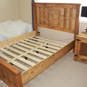 Wood Bed Frame | Bed Frame | Farmhouse Bedframe | Twin Full Queen King Wood Bedframe | Solid Wood Bed