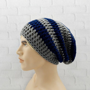 Mens Beanie Hat, Striped Slouch Hat, Slouchy Beanie, Baggy Beanie, Crochet Winter Hat, Gift for Him, Men Hat Beanie, Skater Beanie Cap