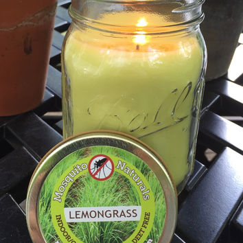 Natural Lemongrass Mosquito Repellent Candle Infused with Essential Oil