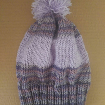 Womens Multi-Colored Striped Warm Purple Knit Winter Hat