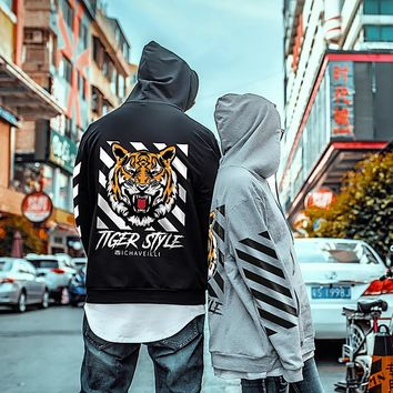 Plus size large 4xl  new pullover  Hoodies tiger mens TOPS printed Long sleeves relaxed fit Sweatshirts Hooded grey