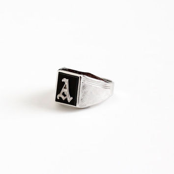 Vintage Sterling Silver Letter A Signet Ring - Retro 1960s Size 6 1/2 Initial Monogram Black Onyx Glass Signed Vargas Jewelry