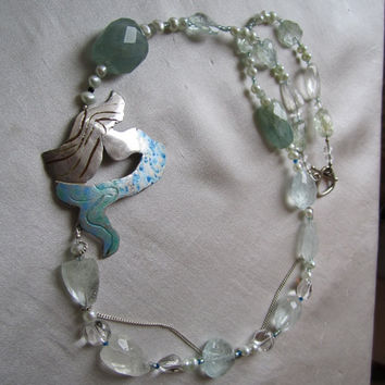 Mermaid's Spring in Aquamarine Necklace by BijouxEmmElle on Etsy