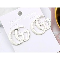 GUCCI new personality wild letter earrings Silver