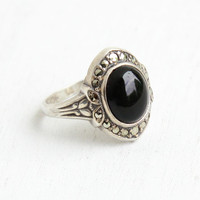 Vintage Art Deco Onyx Black Glass Ring - Size 7 1930s Sterling Silver & Marcasite Hallmarked Uncas Jewelry