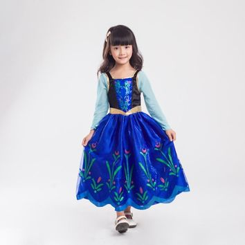 Girl Dress Princess Elsa Party Dress Halloween Kids Cosplay Costume Vestidos Birthday Gift For Children