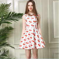 White Cherry Print Sleeveless Skater Dress