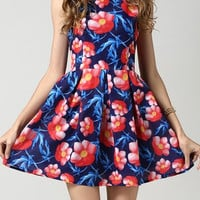 Lotus Flower Print Sleveless Summer Dress