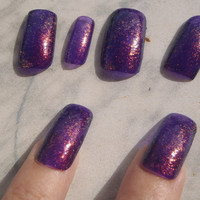 purple red glitter nail art false nails halloween christmas new year's eve artificial fake square witch sexy fashion 2015 lasoffittadiste