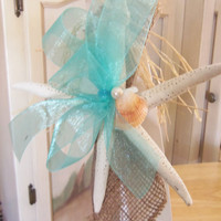 Starfish Wedding Bow's-Beach Wedding Starfish Pew Bow's- Nautical- Made to Order: SET of 10