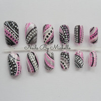 Striped and Polka Dot Hand Painted Nail Set