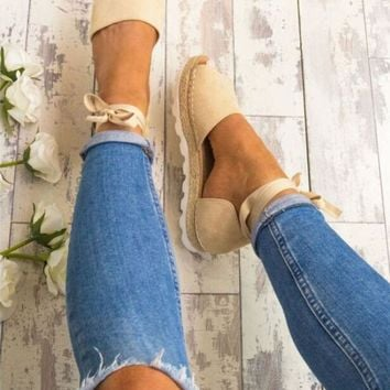 US WOMEN LADIES FLAT LOW WEDGE HEEL ESPADRILLES SUMMER SANDALS BEACH PUMPS SHOES