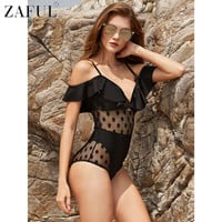 ZAFUL 2017 New Style Sexy Flounce Polka Dot Lace Spliced Wire Women One Piece Swimsuit Bathing Suit Swimwear Monokini Beach Wear