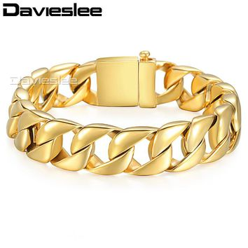 Davieslee Mens Bracelet Heavy Gold Color Chain 316L Stainless Steel Curb Link Fashion Jewelry Gift 13mm LHB123