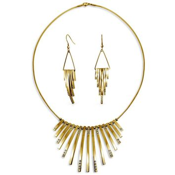 Statement Necklace Earring Set Crystal Gold Tone Stainless Steel