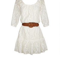 Allover Lace Belted Dress