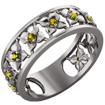 White Gold Yellow Flower Eternity Wedding band Ring Leaves ring Filigree band Friendship Yellow Floral Jewelry Yellow Sapphires Wedding gift