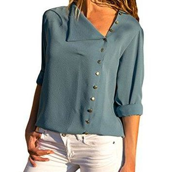 FIYOTE Women Casual Long Sleeve Button Detail Chiffon Blouse and Tops SXXL