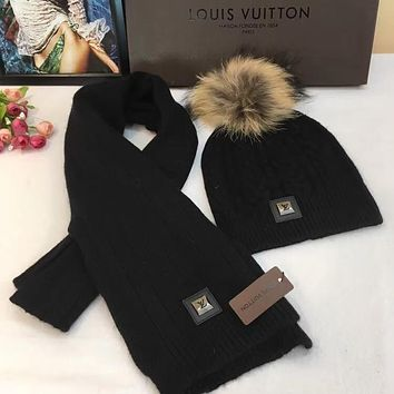 LOUIS VUITTON Fashion Beanies Knit Winter Hat Cap Cape Scarf Scarves Set Two-Piece