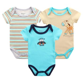 3pcs/lot Summer Baby Rompers Clothes Cotton Clothing for Newborn Baby Girls Boy Clothes Overalls Bebes Menino Cartoon Jumpsuits